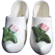 "Two Ceramic White ""Dutch"" Shoes Planter and Wall Hanger with Pink Tulip"