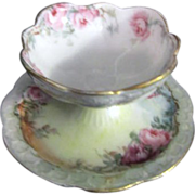 Bavarian Small Serving Bowl/Saucer Roses with Gold Trim