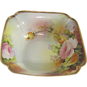 Nippon Hand Painted Square Serving Bowl with Flowers and Gold Trim