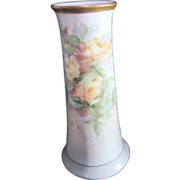Heinrich H&C Bavarian Vase with Hand Painted Yellow Roses and Gold Trim