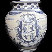 Blue & white Pottery Vase Signed