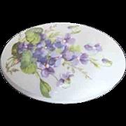 Limoges Lidded Porcelain Oval Box with Violets on Lid