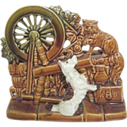 McCoy Pottery Scottie Dog and Persian Cat Spinning Wheel Planter