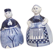 3 Delft Blue Porcelain Pieces Tray Boy & Girl Salt & Pepper Shakers