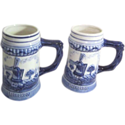 Pair of Delft Blue and White Heineken Steins
