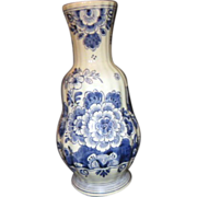 Delft Blue and White Vase with Flowers and Birds
