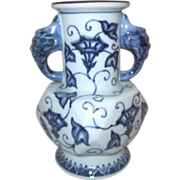 Blue & White Vase with Devil on Two Handles