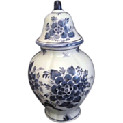 Blauw Delft Blue & White Hand Painted Lidded Ginger Jar