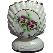 Seashell Vase with Pansies Painted on Front