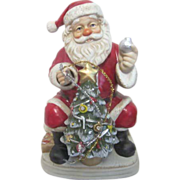 SALE Melody in Motion Seated Christmas Santa with Christmas Tree that Lights Music Box