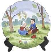 "Dresden ""RL"" Plate of Dutch Boy and Girl with Daisy"