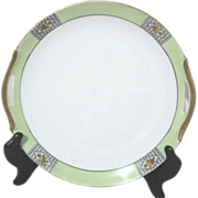Noritake Hand Painted Art Deco Cake/Dessert Serving Plate with Pierced Handles