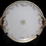 Haviland & Co Limoges France Hand Embossed Pierced Double Handled Dessert Plate