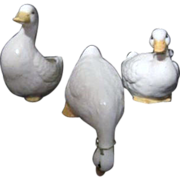 Three Porcelain Geese Different Poses One Planter