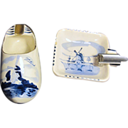 Set of 2 Delft Blue & White Hand Painted Ash Trays