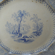 Unusual Early Romantic Staffordshire blue plate, Scenic View, early 19th C.