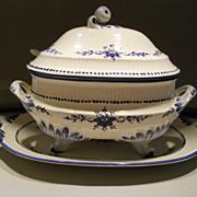 Beautiful Portuguese blue/white soup tureen, under tray, ladle