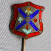 Enameled/Sterling Coat-of-arms Stickpin, c. 1930's