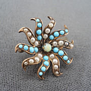 Beautiful Spiral Brooch with Turquoise, Pearls and Opal center