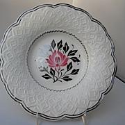 Unusual Wedgwood plate, silver lustre/pink flower motif, c. 20th C.