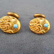 Unique Pair of Victorian Rolled Gold & Turquoise Cuff Links