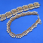 Stunning Trifari Gold plated Necklace & Bracelet, c. late 1950's