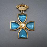 Cross Pin/Pendant, Blue Glass Stones & Crown, 60's