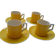 Unusual set of 4  yellow Czechoslovakian demitasse. 20's