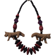 Fun Colored Wood and 2 Carved Animal Necklace