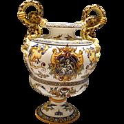 Stunning Gien White Renaissance Baluster Vase, c. 1875