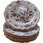 French Faience Plates (6), Rouen style pattern