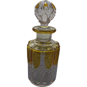 Early pressed glass scent bottle with amber flashing, 19 C.