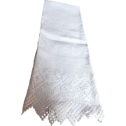 "Elegant Victorian linen towel or ""splasher"", c. 19th C."