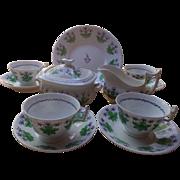 Unusual 7 piece antique porcelain New Hall tea set, c. 1800