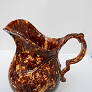SALE Unusual Rockingham pottery pitcher with molded raspberries, c. 19th C.
