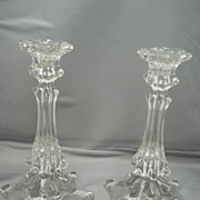 Unique pair of early European crystal blown mould candlesticks