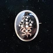 Georgian black enamel with half pearl floral design brooch