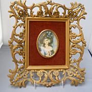Miniature of Lady Sheffield, famed in velvet and syrocco wood, c. 50's
