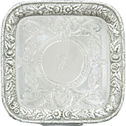 Tiffany & Co Sterling Silver Repousse Footed Salver c. 1865-1869