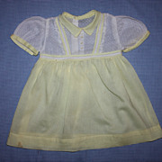 SOLD Yellow and White Dimity Dress for Playpal Dolls 1950s