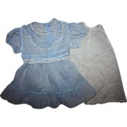 Blue Nylon Dress and Slip for Small Playpals 1950s