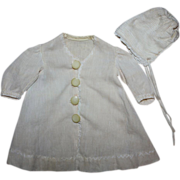 SOLD Antique Ribbed Coat and Bonnet for Bisque early 1900s