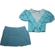 SOLD Teal Pique Blouse and Tagged Terri Lee Skirt 1950s