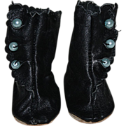 SOLD Black Leather High Top Boots for Bisque Dolls