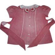 Red Gingham Dress for Large Mama Dolls 1940s