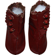 SOLD Burgundy High Top Boots for German or French Bisque Dolls