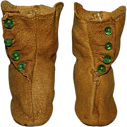 SOLD Suede Side-Button Boots for German or French Bisque