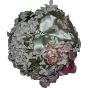 SOLD Interesting Floral Hat for Fashion Dolls or Bisque 1950s