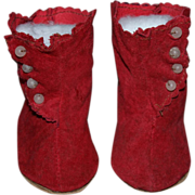 SOLD Red Suede Side-Button Boots for German or French Bisque