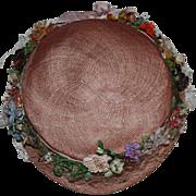 SOLD Pink Flower-Trimmed Hat for Bisque Dolls